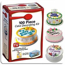 100PC COOKIE MUFFIN CAKE CUPCAKE ICING DECORATING KIT TIPS STENCILS ICING BAG