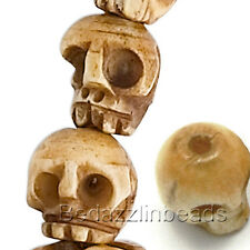 6 Hand Carved 12mm 1/2 inch Genuine Cow Bone Antiqued Natural Color Skull Beads