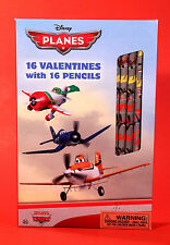 VALENTINES DAY CARDS & #2 PENCILS 16 Disney Planes Cars Unique school kids gift