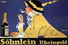 RHEINGOLD, 1914 Vintage Champagne Advertising Reproduction Canvas Print 30x20