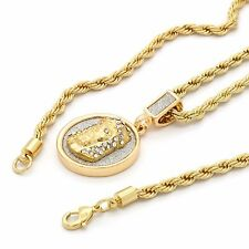 "Mens Hip Hop 14k Gold Plated Jesus Face Coin Pendant w/ 24"" 4mm TCH Rope Chain"