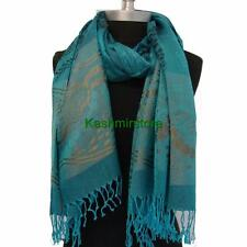New Pashmina Butterfly/Floral Silky Scarf Wrap Shawl Soft Classic Ocean blue#J02