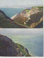 2 Vintage Colour Postcards Coastal Scenery 1913 Muswell Green Postmarks