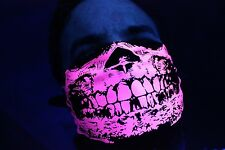 DAYGLOW NEON HOT PINK SKULL BLACK BANDANA DUBSTEP RAVE BLACK LIGHT REACTIVE SNOW