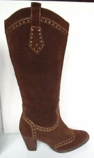 Clarks 5,5 Two tone Brown Suede Brogues studded Knee high boots High Cuban heel