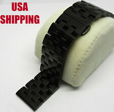 24mm Black PVD Ion Steel Butterfly Clasp Strap Band Bracelet Fit Shinola, Nixon