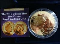 2011 GOLD PLATED PROOF TDC 5 CROWNS COIN BOX + COA WEDDING WILLIAM & KAKE RARE