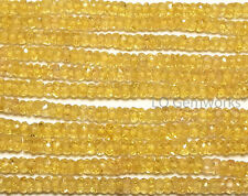 """17"""" YELLOW SAPPHIRE 2-3mm Faceted Rondelle Beads AAA NATURAL /ys1"""