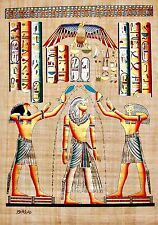 """Egyptian Hand-painted Papyrus Signed Art: Purification of the Pharaoh 25"""" x 36"""""""