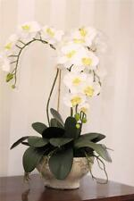 LARGE ORCHID ARTIFICIAL SILK FLOWER POTTED PLANT ARRANGEMENT WHITE PHALAENOPSIS