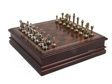 """NEW Metal Chess Set With Deluxe Wood Vintage Craft Board and Storage - 2.5"""" King"""