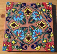 """Talavera Mexican tile Saltillo Hi Relief 12"""" X 12"""" hi fired kiln aqua yellow red"""