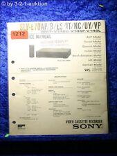 Sony Service Manual SLV E70AP B /ES / IT /NC /UY /VP Video Recorder (#1212)