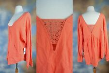 NEW FREE PEOPLE orange oversized sexy lace blouse top shirt SZ:  M fits L or XL