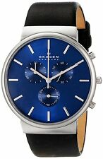 Skagen SKW6105 Men's Ancher Leather Band Blue Dial Chronograph Watch