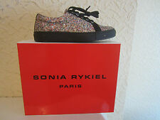 Sonia Rykiel Glitter-Suede Trimmed Lace-Up Sneakers