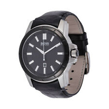 NWT HUGO BOSS Classic Mens Black Leather Date Watch 46mm 1512922 Authentic