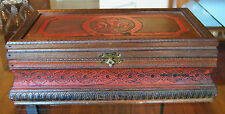 Beautifully Decorated Vintage Wooden CIGAR BOX~Florida Stamp~RED Painted TORCH