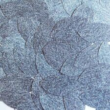 "Sequin Navette Leaf 1.5"" Denim Blue Jean Fabric Effect Opaque"