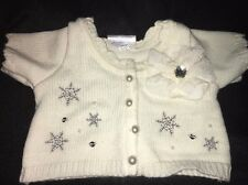 Build a Bear Workshop WHITE SWEATER w/ Pearl Buttons SILVER SNOWFLAKES BABW