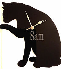 PERSONALISED CAT CLOCK SILHOUETE , WALL MOUNTED
