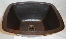 "16"" Hammered Rectangular Copper Bar Prep Veg Sink with DRAIN"