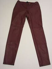 New H&M Hennes Burgundy Faux Leather Leggings Size 8 Inseam 30""