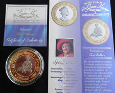 2000 SILVER PROOF GOLD PLATING BAHAMAS $2 COIN + COA'S QUEEN MOTHER'S 100th