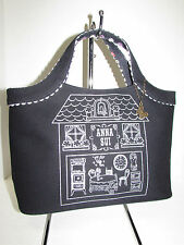 ANNA SUI AUTH Black Canvas Metallic Design Pattern Tote Handbag NEW