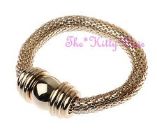 18 KGP Gold Mesh Woven Hollow Ball & Rings Stretch Elasticated Bangle Bracelet