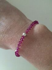 FUSHIA PINK CRYSTAL STRETCH BRACELET STERLING SILVER BEAD HANDMADE DESIGN GIFT