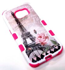 for Samsung Galaxy S6 Edge Eiffel Tower Paris Pink Rose Hard & Soft Hybrid Case