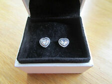 Pandora SILVER SPARKLING LOVE HEART EARRINGS 290568CZ With Pandora Suede Pouch