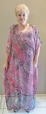 Pure Silk  Kaftan Long Dress Casual or dressy Plus size 14-24 Stunning, Sheer