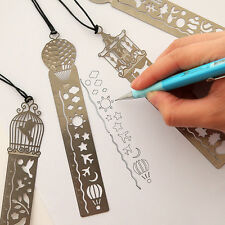 A4 Retro Multifunction Bookmark Drawing Paper Clips Ruler Shaped Metal Bookmark