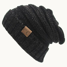Unisex Women Men Knitted Beanie Cap Ski Hat Baggy Hand Knit Braided Crochet HOT