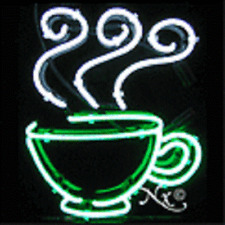 NEW COFFEE CUP LOGO 17x17 REAL NEON SIGN W/CUSTOM OPTIONS 12218
