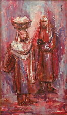 ORIENTALIST TWO WOMEN MODERN MID CENTURY ARAB PAINTING SIGNED