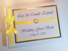 PERSONALISED WEDDING GUEST BOOK (YELLOW) WITH DIAMONTE BUCKLE  - ANY COLOUR