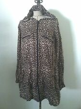 Torrid 4 4X woman plus jacket hoodie animal print black beige pocket drawstring