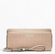 NWT Coach Legacy Perforated Leather Double Zip Wallet 49000 SV/Bisque Hibiscus