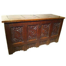 Gothic Oak Chest with Carved Linenfold Panels- Limited time FREE SHIPPING!