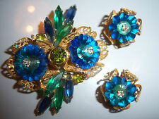 VTG JULIANA D&E RIVOLI RHINESTONE GOLD FILIGREE BROOCH PIN EARRING SET