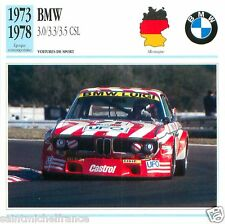 BMW 3.0/3.3/3.5 CSL 1973 1978 CAR VOITURE GERMANY ALLEMAGNE CARTE CARD FICHE