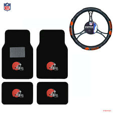New NFL Cleveland Browns Car Truck Front Rear Floor Mats Steering Wheel Cover