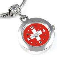 Switzerland Flag Silver European Spacer Charm Bead Watch For Bracelet EBA391