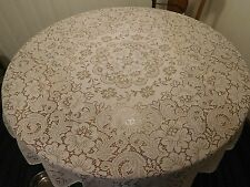 "Vintage White Round Quaker Lace TABLECLOTH - 64"" Diameter - Beautiful"