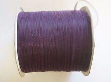 20 Meters Organza Ribbon - 3mm - Dark Amethyst Purple
