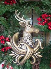 "NWT RAZ Imports Antique Gold Large 11"" Reindeer Deer Head Christmas Ornament #A"