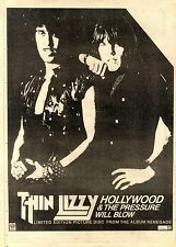 "27/2/82PGN32 ADVERT 15X11"" THIN LIZZY : HOLLYWOOD & THE PRESSURE WILL BLOW"